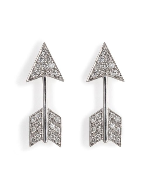 Anita Ko - 18kt White Gold Arrow Earrings With Diamonds - Lyst