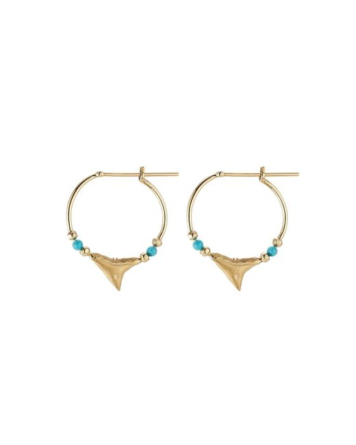 Aurelie Bidermann | Metallic Shark 18kt Yellow Gold Earrings With Turquoise | Lyst