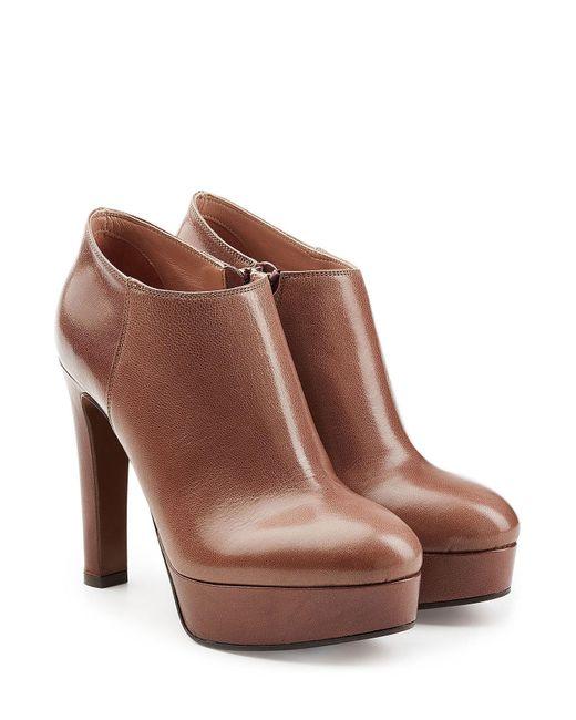 L'Autre Chose - Brown Leather Platform Ankle Boots - Lyst