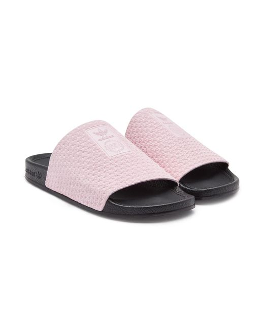 1bcd33f5e Adidas Originals - Pink Adilette Luxe Leather Slides - Lyst ...