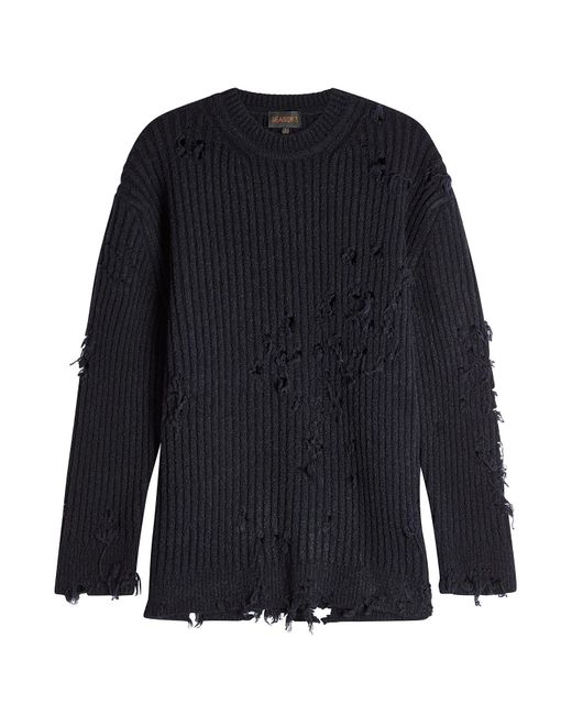 Yeezy - Blue Distressed Pullover With Wool for Men - Lyst