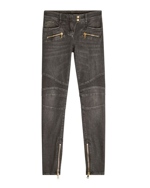 Balmain - Gray Biker Jeans - Lyst