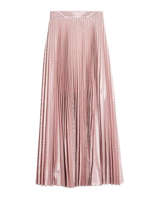 Christopher Kane - Pink Metallic Pleated Gingham Woven Maxi Skirt Antique Rose - Lyst