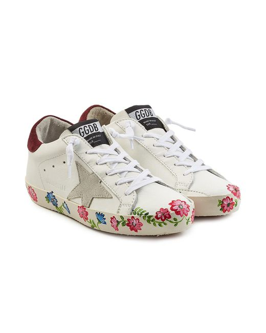 Golden Goose Deluxe Brand - Multicolor Super Star Leather Sneakers With Printed Sole - Lyst