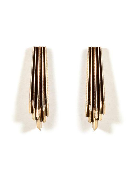 Aesa - Metallic Brass Wind Wake Earrings - Lyst