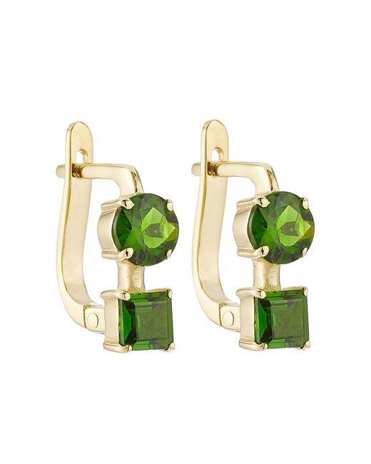 Ileana Makri | Green 18k Yelow Gold Earrings With Chrome Diopside | Lyst