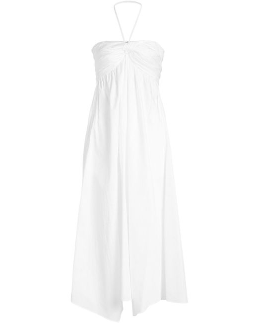 Jil Sander Navy - White Cotton Halter Dress - Lyst