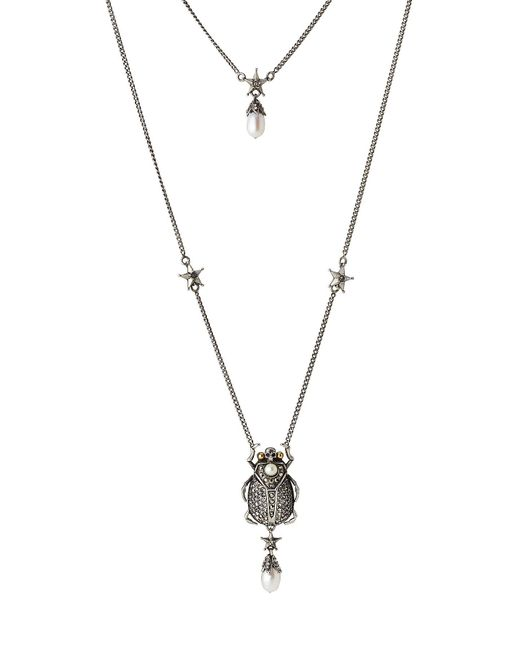 Alexander McQueen - Metallic Embellished Necklace - Lyst