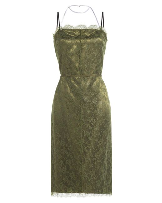 Nina Ricci - Green Dress With Lace - Lyst