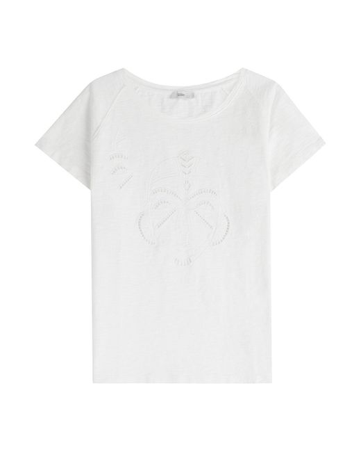 Closed - White Embroidered Organic Cotton T-shirt - Lyst