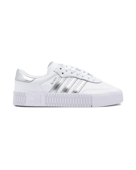 3b0bd2333bd2 ... Adidas Originals - White Sambarose Leather Platform Sneakers - Lyst ...