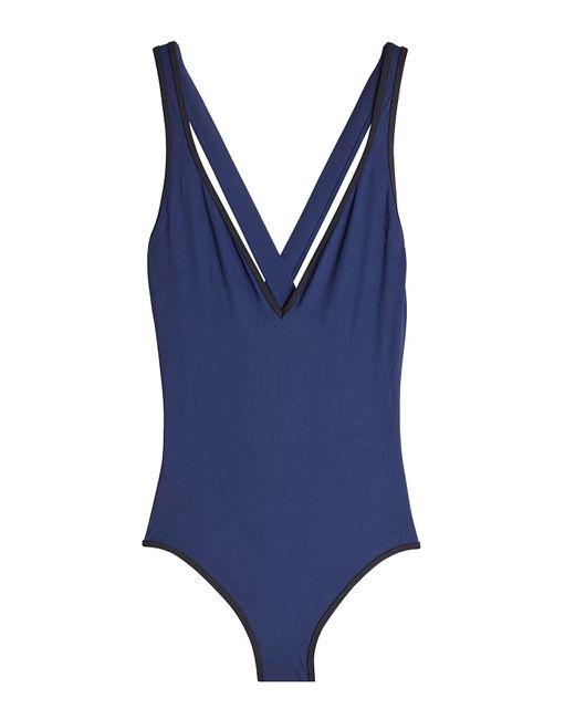 Diane von Furstenberg - Blue V-neck Swimsuit - Lyst
