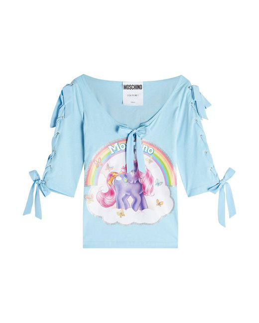 Moschino - Blue Little Pony Printed Cotton Top With Bows - Lyst