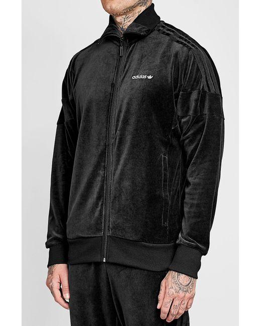 adidas originals velour track jacket in black for men lyst. Black Bedroom Furniture Sets. Home Design Ideas