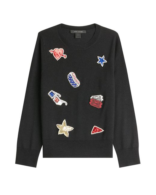 Marc Jacobs - Black Wool Pullover With Embellished Patches - Lyst