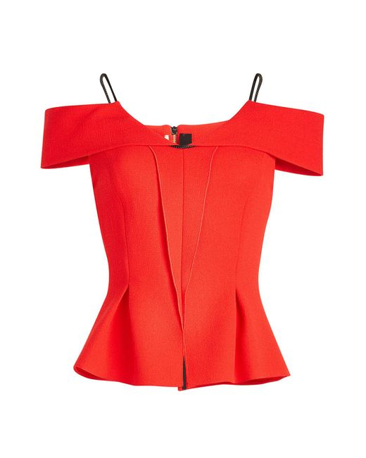 Roland Mouret - Red Stotford Wool Top With Peplum - Lyst