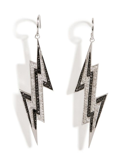 Lynn Ban | Metallic Sterling Silver Lightening Bolt Earrings With Diamonds | Lyst