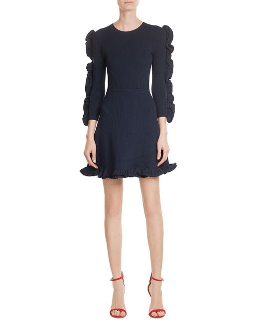 Victoria, Victoria Beckham   Blue Dress With Ruffled Sleeves   Lyst