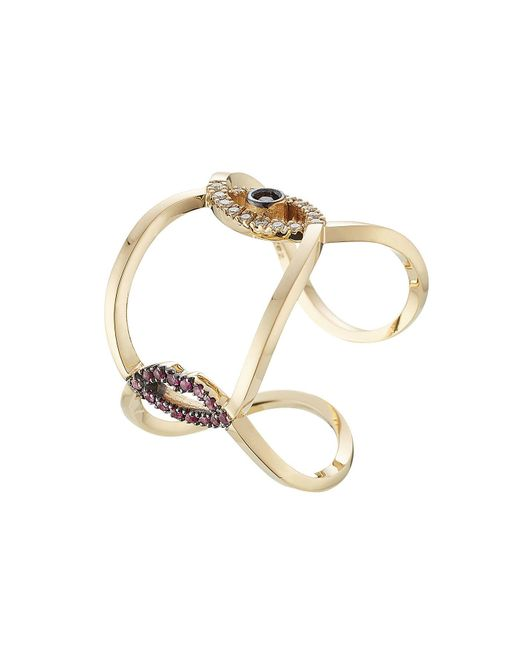 Delfina Delettrez - Metallic 18kt Gold Ring With Rubies, Diamonds And Sapphire - Lyst