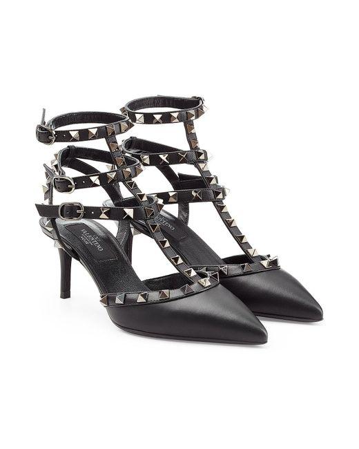 Valentino | Black Rockstud Leather Kitten Heel Pumps | Lyst
