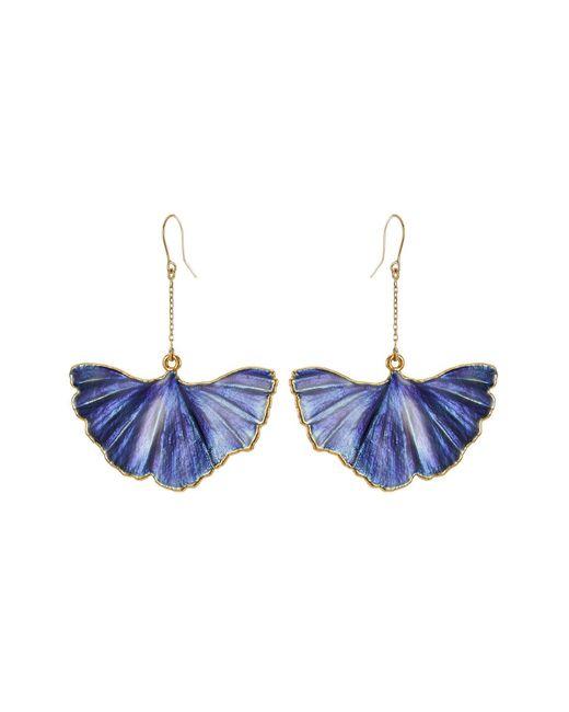 Aurelie Bidermann - Blue Ohrringe Mit 18kt Vergoldetem Ginkgoblatt-anhänger - Lyst
