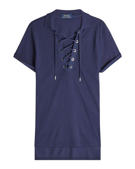Polo Ralph Lauren | Blue Lace-up Polo Shirt With Cotton | Lyst
