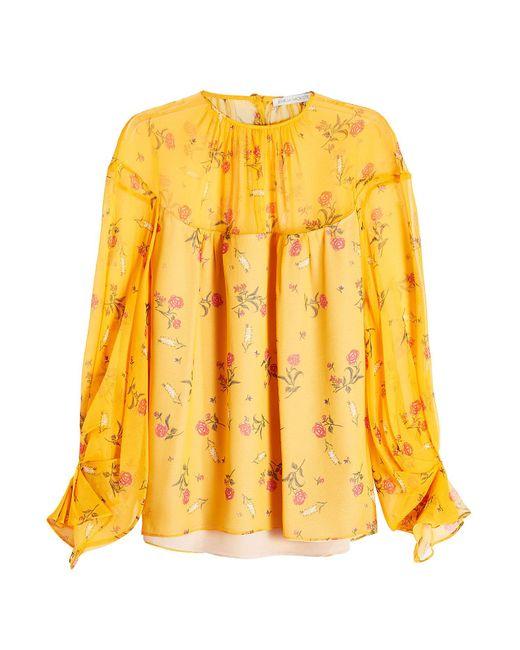Emilia Wickstead - Yellow Printed Silk Blouse - Lyst