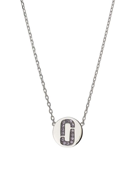 Marc Jacobs - Metallic Silver Necklace With Rhinestone Logo Pendant - Lyst