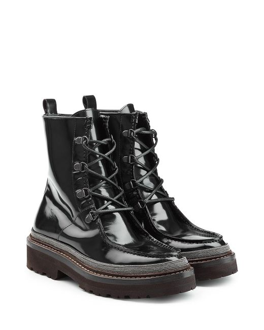 Brunello Cucinelli - Black Patent Leather Ankle Boots - Lyst
