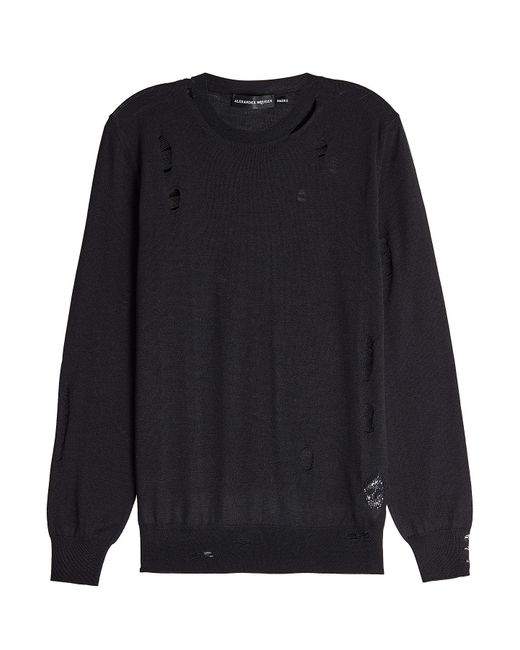 Alexander McQueen | Black Distressed Wool And Silk Pullover for Men | Lyst