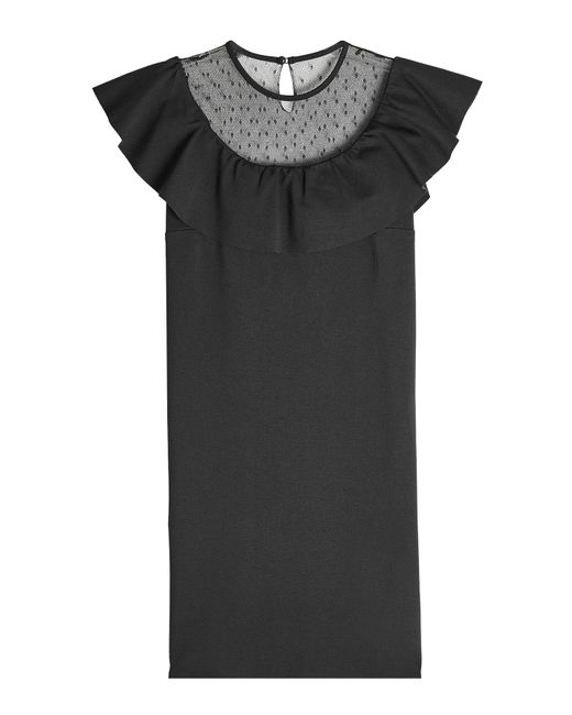 RED Valentino - Black Dress With Point D'esprit - Lyst
