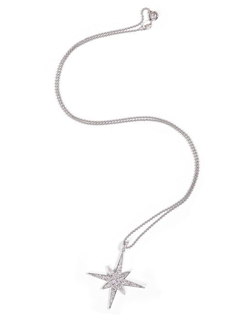 Anita Ko - 18kt White Gold Starbust Necklace With Diamonds - Lyst