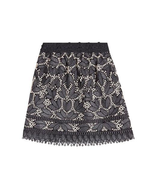 Anna Sui - Black Lace Appliqué Mini Skirt - Lyst