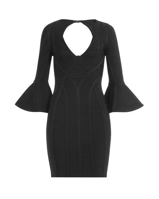 Hervé Léger - Black Bandage Dress With Flared Cuffs - Lyst