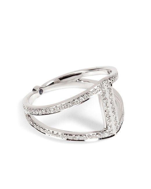 Noor Fares - Metallic 18k Gold Rhombus Ring With White Diamonds - Lyst