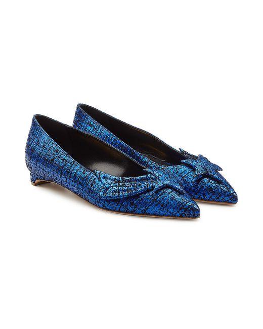 Rupert Sanderson - Blue Metallic Tweed Leather Ballerinas - Lyst