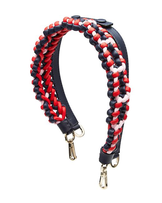Versace - Red Braided Leather Shoulder Strap - Lyst