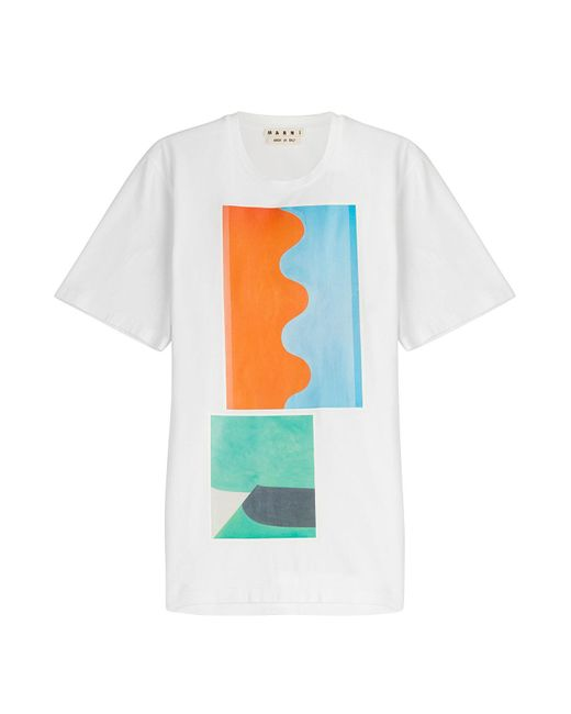 Marni | Blue Printed Cotton T-shirt for Men | Lyst