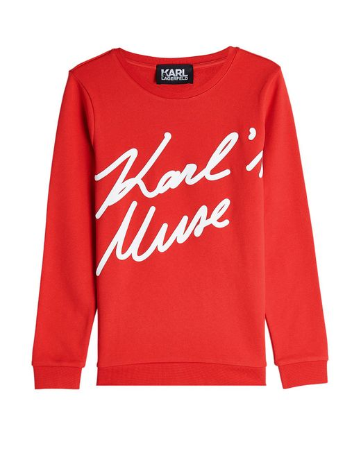 Karl Lagerfeld - Red Karl's Muse Cotton Sweatshirt - Lyst