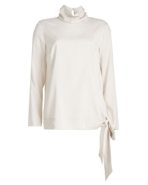 Brunello Cucinelli - White Turtleneck Silk Blouse - Lyst