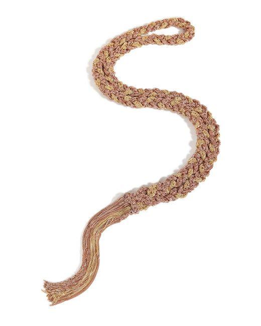Carolina Bucci - Metallic Gold/rose Gold Woven Chain Tassel Necklace - Lyst