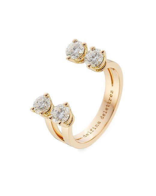Delfina Delettrez - Metallic 18kt Pink Gold Ring With Diamonds - Lyst