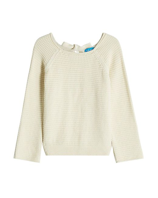 MiH Jeans - Multicolor Waffle-knit Cotton Pullover With Open Back - Lyst