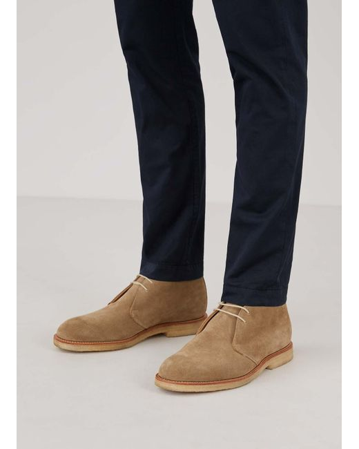 Men's Suede Ankle Boots With Crepe Sole In Brown