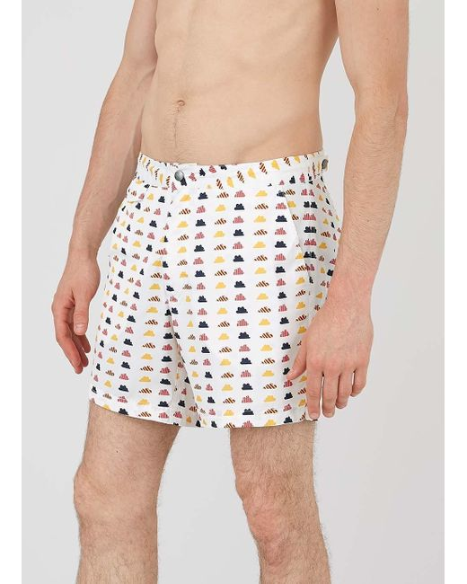 Sunspel John Booth And Men's Upcycled Marine Plastic Polyester Tailored Swim Short In Clouds