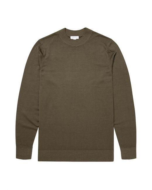 Sunspel Men's Fine Merino Wool Mock Neck Jumper In Military Green for men
