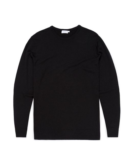 Sunspel Men's Fine Merino Wool Jumper In Black for men