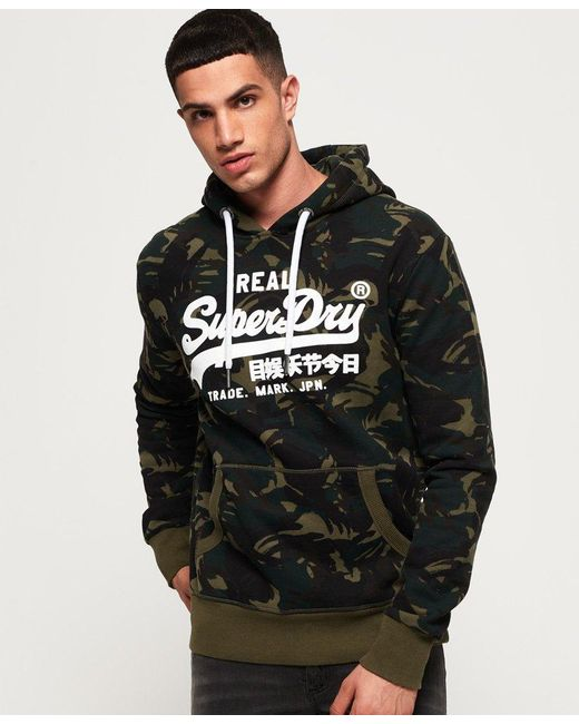 Superdry - Green Vintage Logo Camo Hoodie for Men - Lyst ... 12ed4ea890