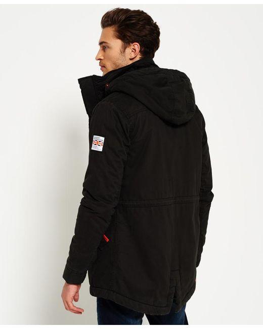 Superdry Rookie Military Parka Jacket In Black For Men
