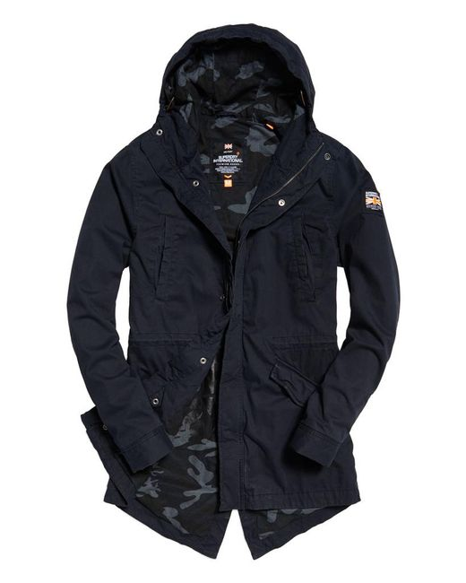 superdry classic rookie military parka coat in blue for men lyst. Black Bedroom Furniture Sets. Home Design Ideas